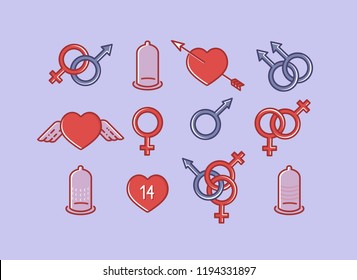 Vector set of sex icons in line style of flat design
