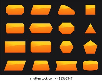 Vector set shapes for message in orange color. Decoration for text in geometry shapes. Border and sticker for note in set. Hexagon button, rectangle, square and other yellow geometry signs