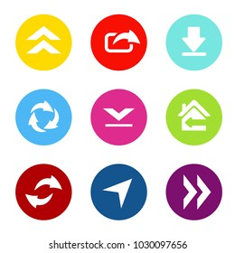 Vector set of shared arrows with circle button. Communication icons of download, upload, share for mobile, smartphone.