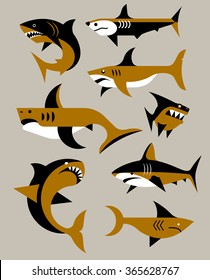 Vector set of sharks.