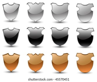 A vector set of shields
