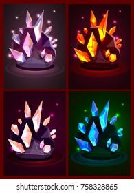 Vector set of shine cartoon fantasy crystals for app user interface; game design lightning crystasl in rock; casual burning magic gem icons for fantasy landscape; underground grotto treasures