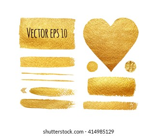 Vector set of shining brush strokes for you amazing design project. Isolated on white. Vector abstract hand painted golden background.