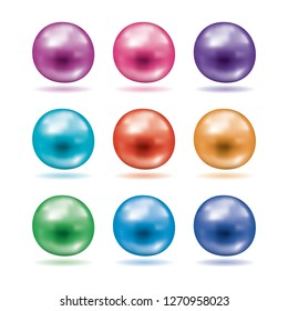 vector set of shiny pearls. colorful shell pearl symbols isolated on white background