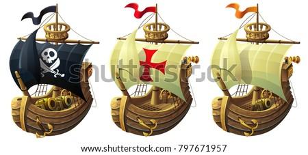 vector set of ships