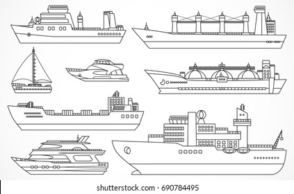 Vector set of ships: tanker, bulk carrier, dry cargo ship, icebreaker, trawler, yacht, sailboat.  Black contours.