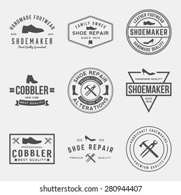 vector set of shoemaker and shoe repair labels, badges and design elements
