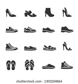 Vector set of shoes icons.