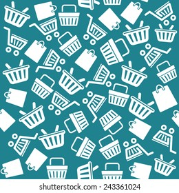Vector Set of shopping cart icons pattern background