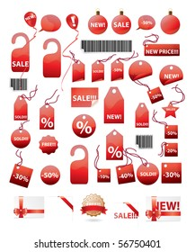 vector set of shopping tags and stickers in red color