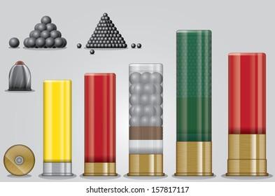 Vector set of shotgun ammunition