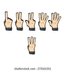 vector set of sign language numbers from one to five
