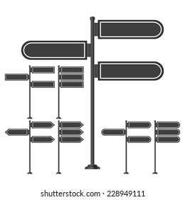 Vector set of signpost on isolated white background