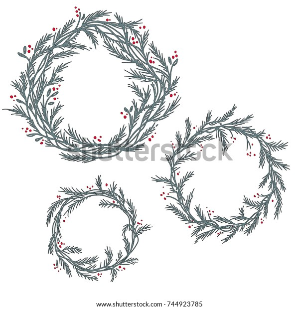 Christmas Wreath Silhouette.Vector Set Silhouette Christmas Wreath Hand Stock Vector
