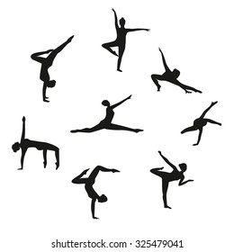 Vector Set of silhouette dancing girl. Set of gymnastic silhouette. Silhouette women dancing isolated on white background. Black woman dancer set.