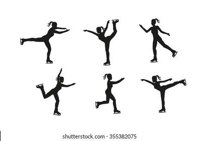 Vector set  of silhouette figure skating. Set of figures girls on skates. ice skating group. Different poses Girl skating
