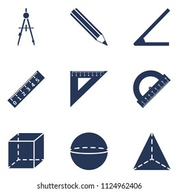Vector Set of  Silhouette Geometry School Icons