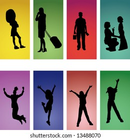 vector set of silhouette people