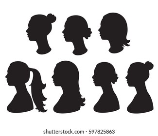 Vector set silhouette of woman head. Black illustration of side view of face. Isolated on white background.