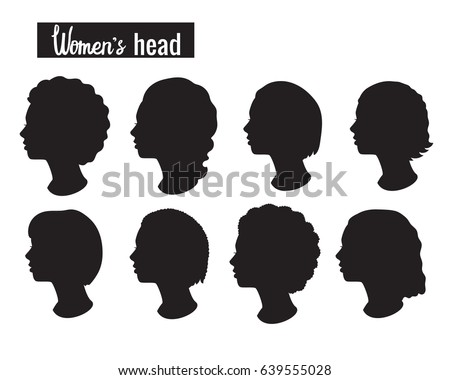 vector set silhouette woman head black stock vector royalty free
