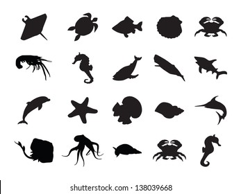 Vector set of silhouettes of 20 marine animals on a white background