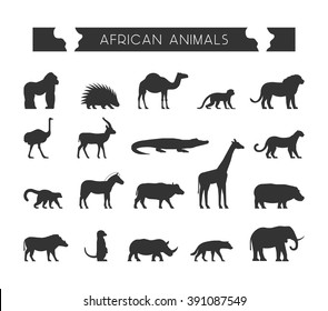 Vector set of silhouettes of African animals. Vector lion, leopard, monkey and crocodile.