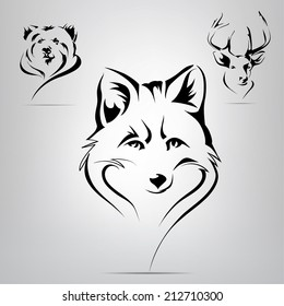 Vector set of silhouettes of animals: fox, bear, deer