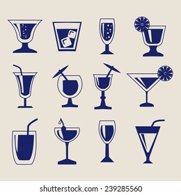 vector set silhouettes of Cocktail glasses - Illustration