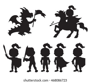 Vector set of silhouettes cute little knights and a dragon with a flag.