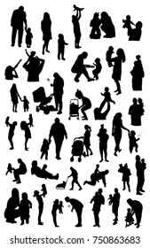 vector set of silhouettes of dad and I, Mom and I. Mom, Dad, Love, Family