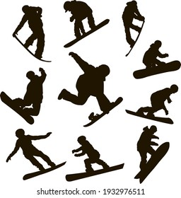 vector set silhouettes of different disciplines of snowboarding