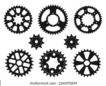 Vector set of silhouettes of the gear wheels and sprockets