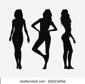 Vector set of silhouettes of girls on a white background