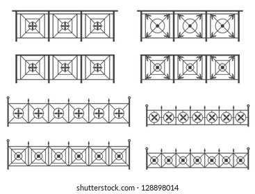 Vector set of silhouettes of iron fences with flowers and leaves