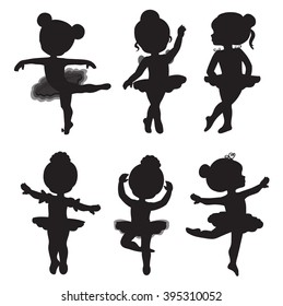 Vector set of silhouettes of little ballerinas.