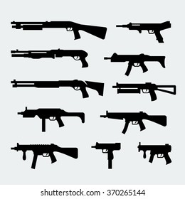 Vector set of silhouettes of modern shotguns and submachine-guns