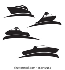 Vector a set of silhouettes of motor boats on water in flat style. Elements of design of logos, booklets, infographics, icons of games.