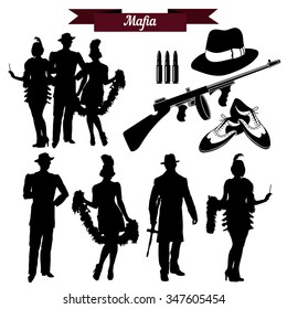 Vector set of silhouettes in retro 1930s. Mafia theme, gangsters retro 1930s style.