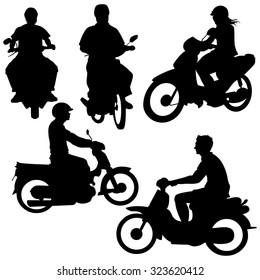 Vector Set of Silhouettes. Riders on Motorbikes