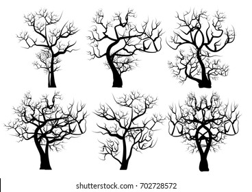 Vector Set  Silhouettes of Trees. Dead Trees