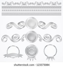 Vector set: Silver Awards and borders. Abstract design elements. Usable for different certificates, diplomas or different awards. Isolated silver medals with ribbons (sign of winner). Second place