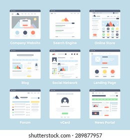 Vector set of simple flat website templates icons on blue background