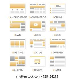 Vector Set Simple Flat Website Templates Stock Vector Royalty Free