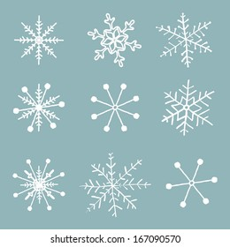 Vector set of simple hand drawn snowflakes.