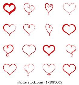 Vector set of simple hearts