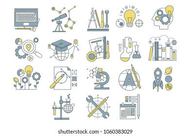 Vector set of simple linear icons with colorful fill. Development of human mind. Creativity and generation of ideas. Education, market research, startup