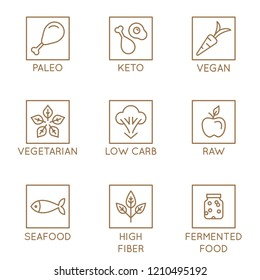 Vector set of simple linear icons - healthy nutrition and dieting - paleo, keto, vegan food - badges for  natural healthy products packaging