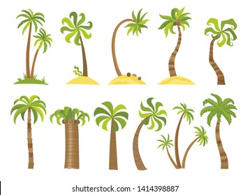 Vector set of simple palm trees. Flat cartoon palms on white background.