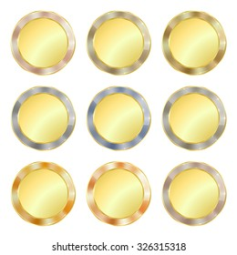 vector set of simple round gold medal with a border of various precious metals gold, silver, platinum, white and red gold which can be used as coins, buttons, labels