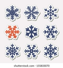 Vector set of simple snowflakes.